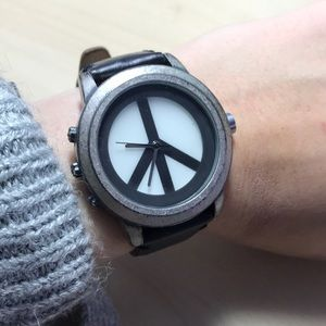 The Lucky Brand leather peace sign watch